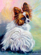 Papillon Dog Paintings - Watchful - Papillon Dog by Lyn Cook