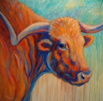 Bull Paintings - Watchful by Theresa Paden