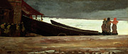 Boat On Beach Paintings - Watching a Storm on the English Coast by Winslow Homer