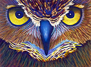 Owl Painting Metal Prints - Watching Metal Print by Brian  Commerford