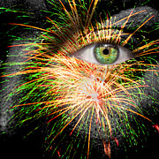 Spark Sparkle Posters - Watching Fireworks Poster by Semmick Photo
