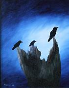 Crows Paintings - Watching for Company by Rebecca  Fitchett