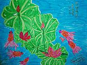 Lotus Pond Paintings - Watching Gold Fish at Lotus Pond by Golden Dragon