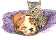 Puppy Drawings - Watching Over Her Friend by Therese A Kraemer