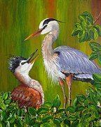 Great Blue Heron Paintings - Watching Over Junior by Dee Carpenter