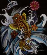 Koi Fish Drawings - Watching Over Natilius by Maria Arango