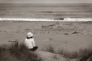 Solo Girl Prints - Watching The Ocean in Black and White Print by Henrik Lehnerer