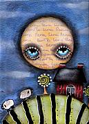 Primitive Art Prints - Watching the Sheep Print by  Abril Andrade Griffith