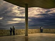 Art Museum Prints - Watching the Storm at the Getty Print by Lynn Andrews