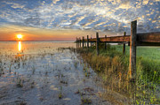 Florida Bridge Photos - Watching the Sun Rise by Debra and Dave Vanderlaan