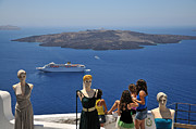 Costume Shop Framed Prints - Watching the view in Santorini island Framed Print by George Atsametakis