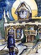 Christmas Card Originals - Watching the Village Clock by Mindy Newman