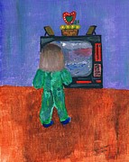 Pajamas Drawings Prints - Watching TV Print by Melvin Moon