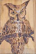 Owl Pyrography Metal Prints - Watching You Metal Print by Margaret G Calenda