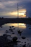 Puddle Posters - Water and Electricity Poster by Idaho Scenic Images Linda Lantzy