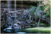 Pool In Cave Prints - Water and Lights at Hamilton Pool Print by Lisa  Spencer