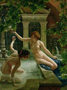 Woman Bathing Paintings - Water Babies by Sir Edward John Poynter