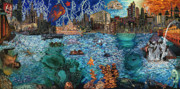 Fish Underwater Paintings - Water City by Emily McLaughlin