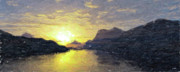 Terragen Posters - Water Colour Sunset No1 Poster by Trevor Kirkham