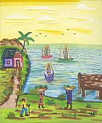 Haiti Paintings - Water Community by John Paul Joseph