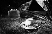 Great Outdoors Photos - Water Container Tin Plate Cup And Camping Tool Utensils In Front Of The Open Door Of A Tent by Joe Fox