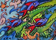 Amphibians Pastels - Water Creature Jumble by Emily Michaud