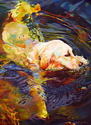 Retriever Drawings - Water Dance 2 by Kelly McNeil