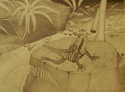 Water Dragon Lizard Print by Brian Leverton