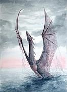 Sea Dragon Paintings - Water Drake by Sean Seal