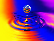 Impact Metal Prints - Water Drop Impact Metal Print by Mike Miller