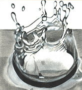 Drop Drawings Prints - Water drop Print by Martha Booysen