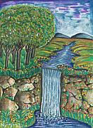 Ken Prints - Water Fall Print by Ken Nganga