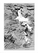 Rocky Drawings Prints - Water Fall Rocky Mountains Print by John Lautermilch