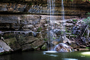 Pool In Cave Photos - Water Flow Over A Rock at Hamilton Pool by Lisa  Spencer