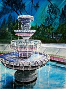 Abstract Fountain Mixed Media Framed Prints - Water Fountain Acrylic Painting Art Print Framed Print by Derek Mccrea