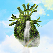 Eco Digital Art - Water from the Heart by Mo T