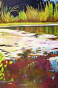 Vertical Landscape Paintings - Water Garden Landscape 4 by Melody Cleary