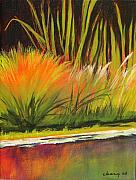 Vertical Landscape Paintings - Water Garden Landscape 5 by Melody Cleary