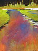 Vertical Landscape Paintings - Water Garden Landscape 6 by Melody Cleary