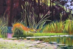 Melody Cleary Posters - Water Garden Landscape Poster by Melody Cleary