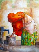 Labor Drawings - Water Gathering by Myra Evans