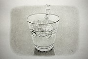Glass Drawings - Water in glass by Michal Straska