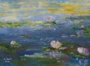 Water Scenes Painting Prints - Water Lilies - Blue Print by Marlene Book