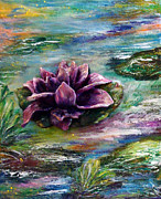 Floral Sculpture Metal Prints - Water lilies - two pieces Metal Print by Raya Finkelson