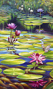Florida Flowers Painting Prints - Water Lilies at McKee Gardens II - Butterfly and Frog Print by Nancy Tilles