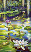 Florida Flowers Painting Prints - Water Lilies at McKee Gardens III - Alligator and Frogs Print by Nancy Tilles