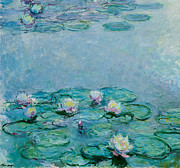 Signed Prints - Water Lilies Print by Claude Monet