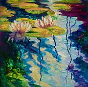 Landscape. Scenic Painting Framed Prints - Water Lilies I Framed Print by Marion Rose