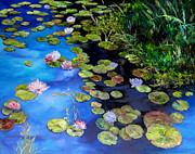 Water Lilies On Blue Print by Diane Kraudelt