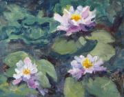 Lily Pad Greeting Cards Posters - Water Lilies Poster by Zanobia Shalks